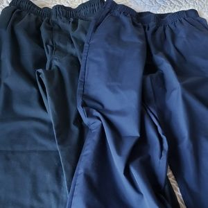 Navy blue chef pants.